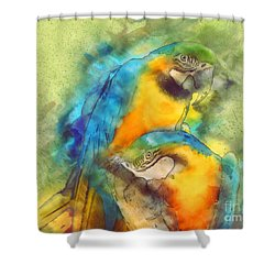 Blue N Gold Macaws Shower Curtain by Methune Hively