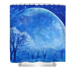 Blue Night Moon Shower Curtain by Ashleigh Dyan Bayer