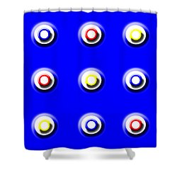 Blue Nine Squared Shower Curtain