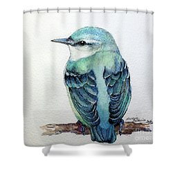 Blue Nuthatch Shower Curtain by Marcia Baldwin