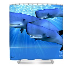 Blue Ocean Shower Curtain by Corey Ford