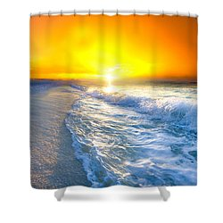 Blue Ocean Landscape Wave Photography Red Surise Shower Curtain by Eszra Tanner