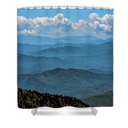 Blue On Blue - Great Smoky Mountains Shower Curtain by Nikolyn McDonald