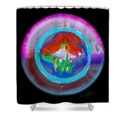 Blue On Blue On Violet Shower Curtain by Charles Stuart