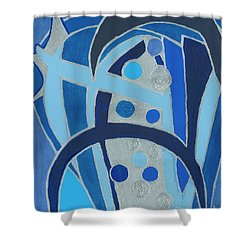 Shower Curtain featuring the painting Blue On Silver by Ania M Milo