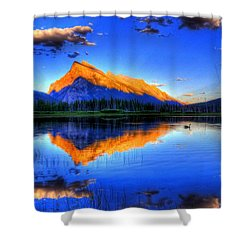 Shower Curtain featuring the photograph Blue Orange Mountain by Test Testerton