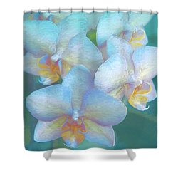 Blue Orchids12 Shower Curtain by Susan Crossman Buscho