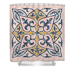 Blue Oriental Tile 01 Shower Curtain