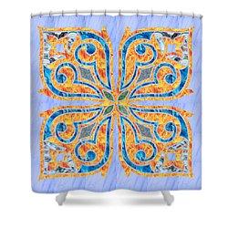 Blue Oriental Tile 02 Shower Curtain
