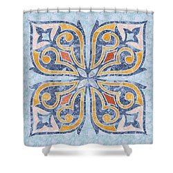 Blue Oriental Tile 04 Shower Curtain