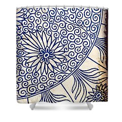 Blue Oriental Vintage Tile 01 Shower Curtain