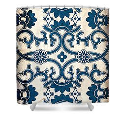 Blue Oriental Vintage Tile 02 Shower Curtain