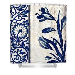 Blue Oriental Vintage Tile 03 Shower Curtain