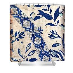 Blue Oriental Vintage Tile 04 Shower Curtain
