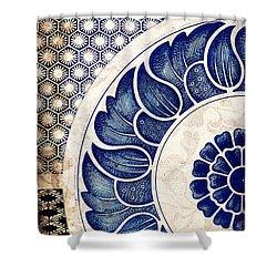 Blue Oriental Vintage Tile 05 Shower Curtain