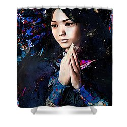 Shower Curtain featuring the painting Blue Our Lady Of China by Suzanne Silvir