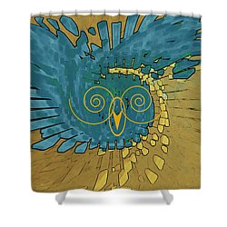 Shower Curtain featuring the digital art Abstract Blue Owl by Ben and Raisa Gertsberg