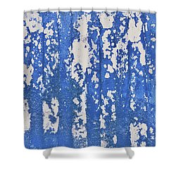 Blue Painted Metal Shower Curtain