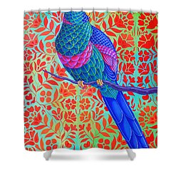 Blue Parrot Shower Curtain by Jane Tattersfield