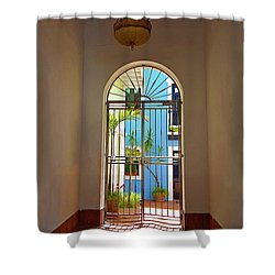 Blue Patio Shower Curtain