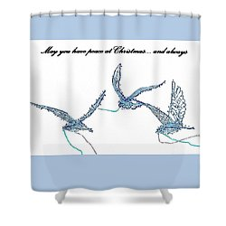 Blue Peace Doves Shower Curtain by Ellen O'Reilly