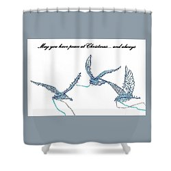 Shower Curtain featuring the photograph Blue Peace Doves by Ellen O'Reilly