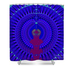 Blue Peacock Fractal 92 Shower Curtain by Rose Santuci-Sofranko