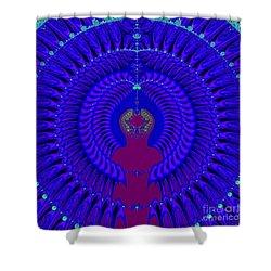 Blue Peacock Fractal 92 Shower Curtain