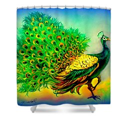 Shower Curtain featuring the painting Blue Peacock by Yolanda Rodriguez