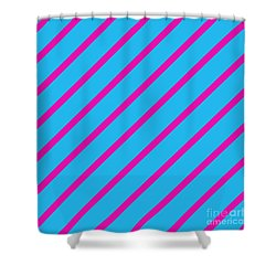 Blue Pink Angled Stripes Abstract Shower Curtain