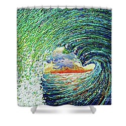 Blue Pipeline Shower Curtain by Gayle Utter