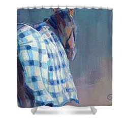 Blue Plaid Shower Curtain by Kimberly Santini