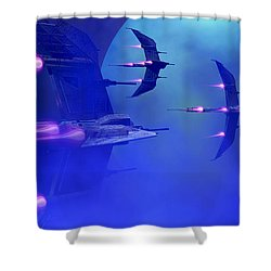 Blue Planet And Moons Shower Curtain by Corey Ford