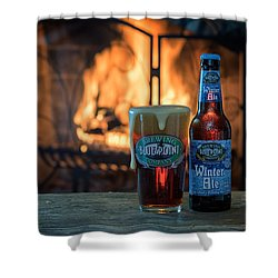 Blue Point Winter Ale By The Fire Shower Curtain by Rick Berk