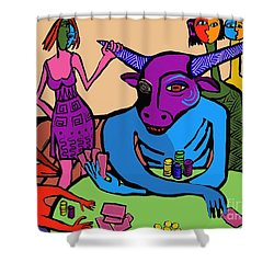 Blue Poker Bull Shower Curtain