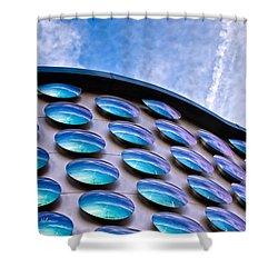 Blue Polka-dot Wave Shower Curtain