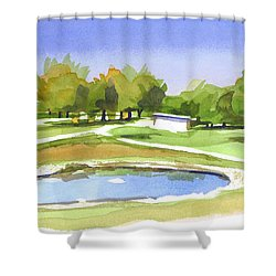 Blue Pond At The A V Country Club Shower Curtain by Kip DeVore