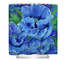 Blue Poppies 11 Shower Curtain by Jenny Lee