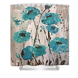 Shower Curtain featuring the painting Blue Poppies by Lucia Grilletto