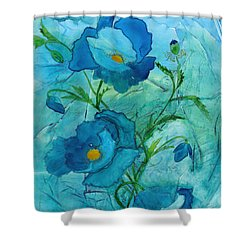 Blue Poppies, Watercolor On Yupo Shower Curtain