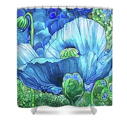 Shower Curtain featuring the mixed media Blue Poppy Garden by Carol Cavalaris
