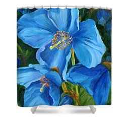 Blue Poppy Shower Curtain by Renate Nadi Wesley