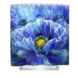 Shower Curtain featuring the mixed media Blue Poppy Splash by Carol Cavalaris