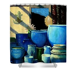 Blue Pots Shower Curtain