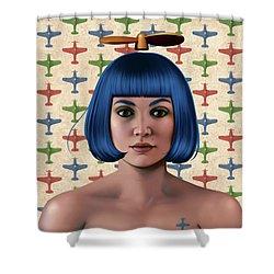 Blue Propeller Gal Shower Curtain