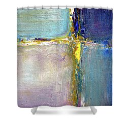 Shower Curtain featuring the painting Blue Quarters by Nancy Merkle
