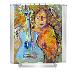 Shower Curtain featuring the painting Blue Quitar by Mary Schiros