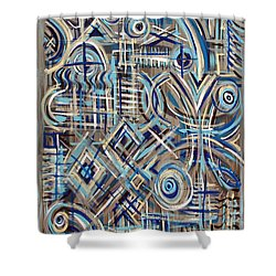 Blue Raucous Shower Curtain
