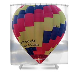 Blue, Red And Yellow Hot Air Balloon Shower Curtain