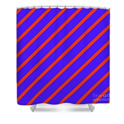 Blue Red Angled Stripes Abstract Shower Curtain
